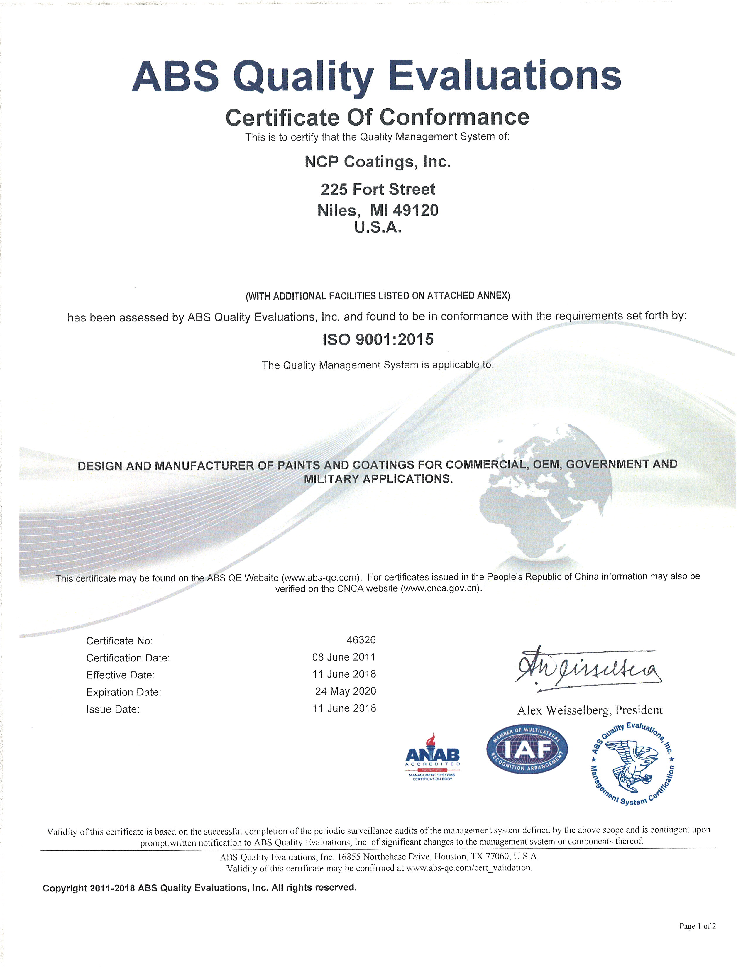 NCP Coatings ISO 9001:2015 Certificate of Conformance
