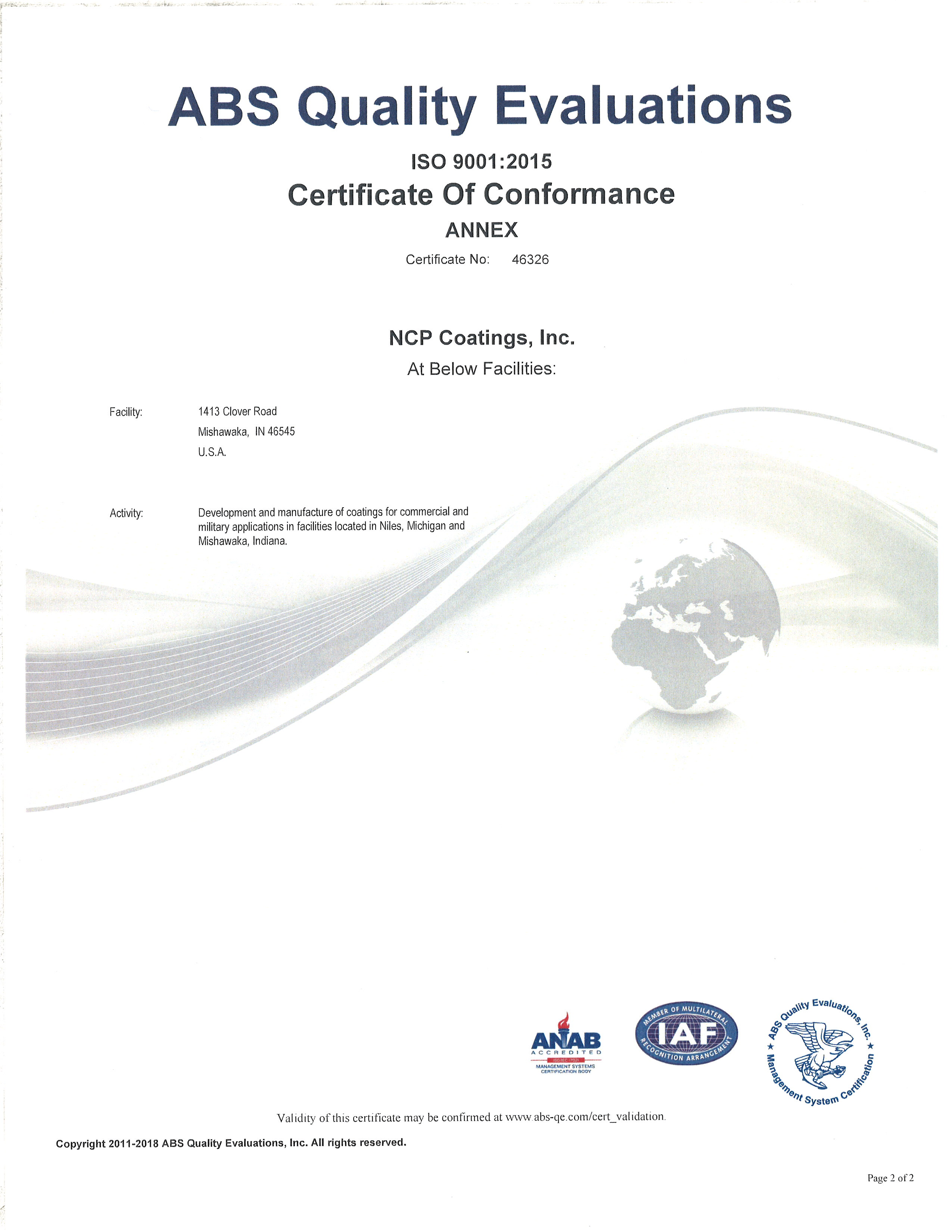 NCP Coatings ISO 9001:2015 Certificate of Conformance Annex
